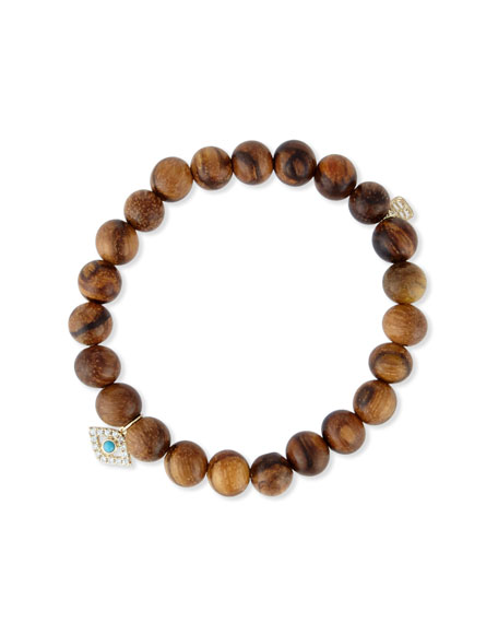 Wooden Bead Bracelet W/ 14K Gold Diamond Evil Eye Charm in Brown