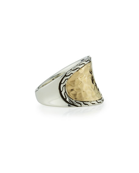 18K Gold & Silver Small Saddle Ring, Size 7