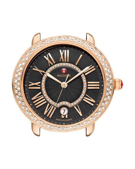 MICHELE 16mm Serein Watch Head with Diamonds, Black/Rose