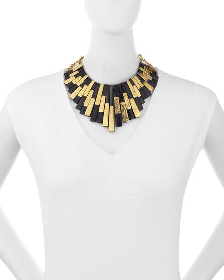 Kifalme Dark Horn & Bronze Bib Necklace, Bronze