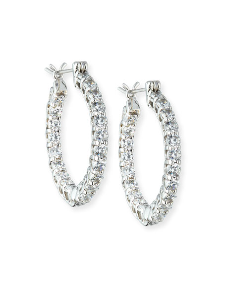 Fantasia by DeSerio CZ Crystal Infinity Hoop Earrings