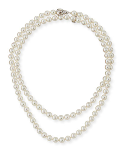 8mm Simulated Pearl Necklace with Moveable Clasp  35