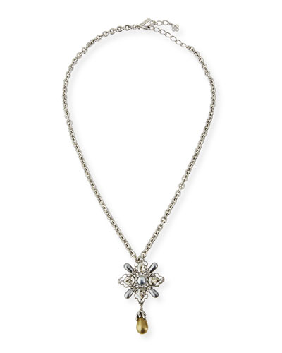 Pearly Crystal Dangling Pin/Pendant with Necklace Chain
