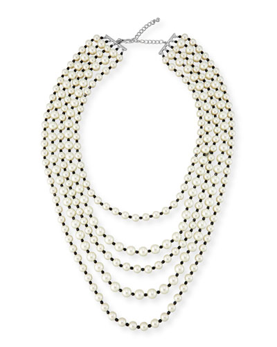 Pearly Five-Strand Bead & Crystal Necklace