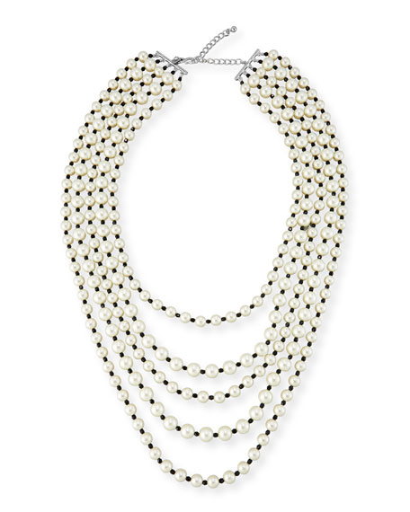 Kenneth Jay Lane Pearly Five-Strand Bead & Crystal