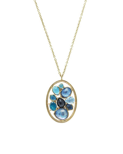 18K Rock Candy Double-Wire Cluster Pendant Necklace in Midnight Rain