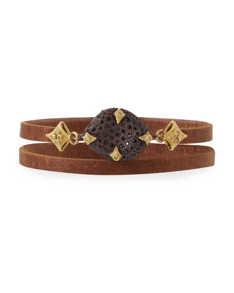Old World Leather Double-Wrap Bracelet with Diamonds