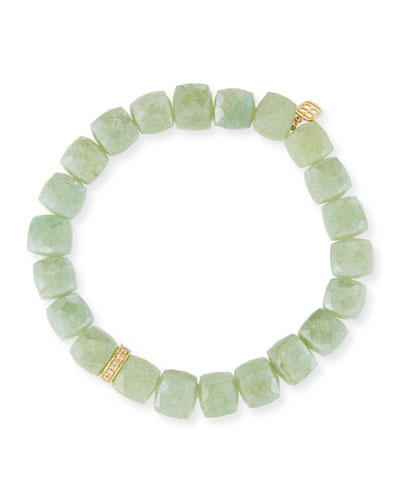 8mm Green Silverite Cube Beaded Bracelet w/14K Gold Diamond Rondelle