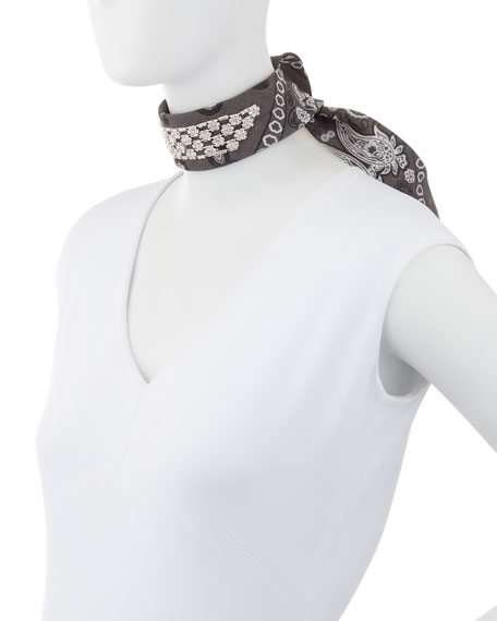 Monarch Crystal-Trimmed Bandana Choker