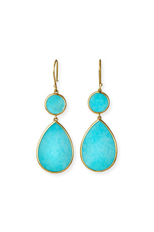 Ippolita 18K Gold Polished Rock Candy Two-Drop Earrings in Turquoise