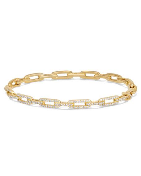 Image 1 of 3: David Yurman Stax Chain Link Bracelet in 18k Yellow Gold w/ Diamonds, Size S