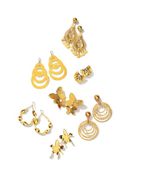 Jose & Maria Barrera Hammered Golden Teardrop Statement Earrings R6fqi1mN