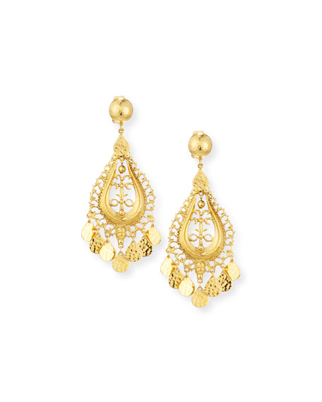 Hammered Golden Teardrop Statement Earrings