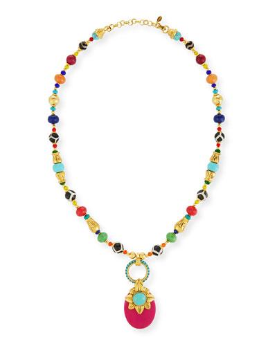 Beaded Multicolor Doorknocker Pendant Necklace