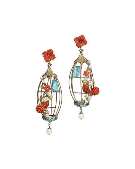 Aviary Coral & Turquoise Birdcage Earrings