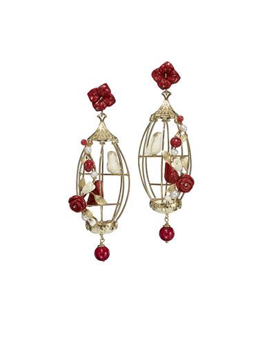 Lovebirds Carved Bone Drop Earrings, Red/White