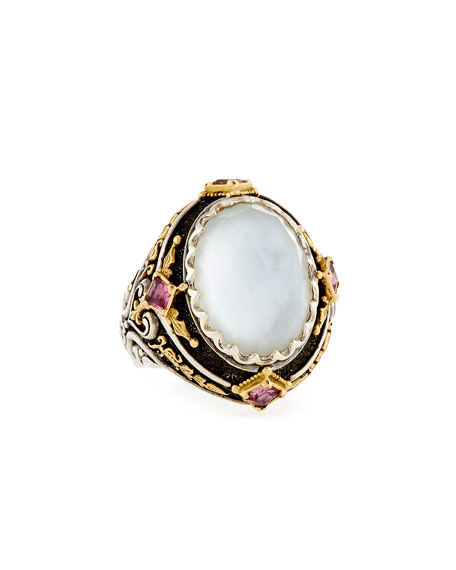 North-South Mother-of-Pearl Ring with Pink Crystal Quartz Over Sapphire & Tourmaline