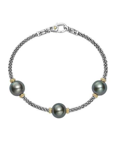Luna Sterling Silver & 18K Rope Bracelet with Black Tahitian Pearls
