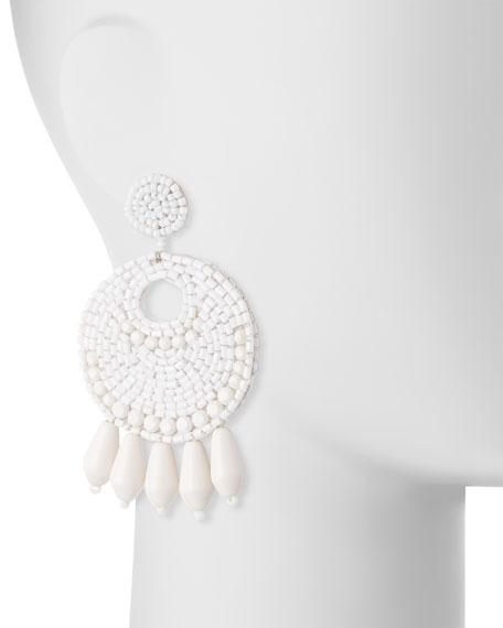 Beaded Hoop Drop Earrings, White