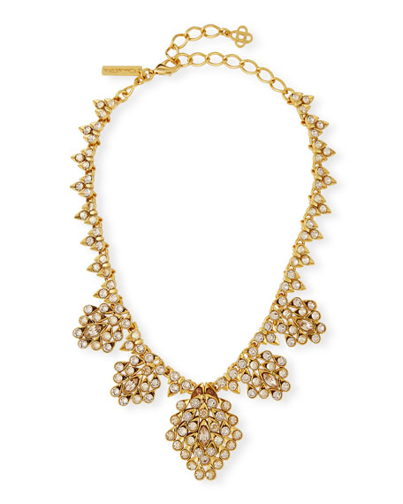 OSCAR DE LA RENTA TEARDROP FRAMED CRYSTAL STATEMENT NECKLACE, GOLD