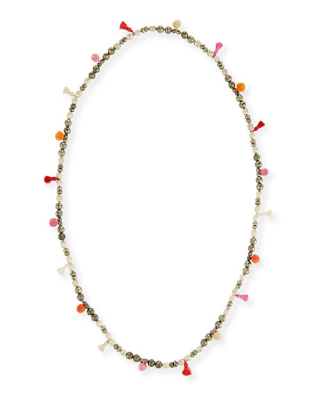 "Bella Beaded Tassel Necklace, 42"""