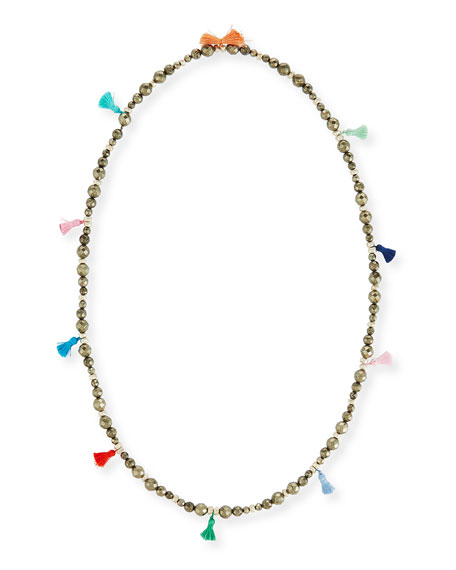 Bianca Beaded Tassel Necklace, 42""