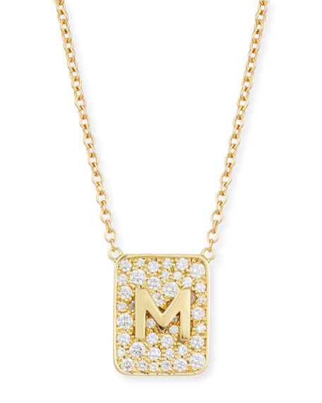 Personalized Diamond Tablet Necklace in 18K Gold