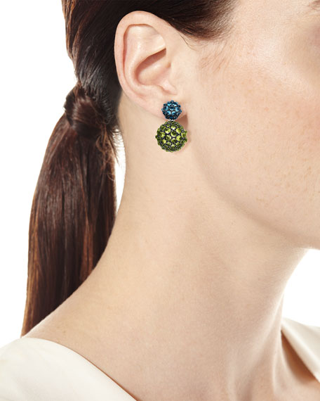 Osetra Double-Drop Topaz & Peridot Earrings