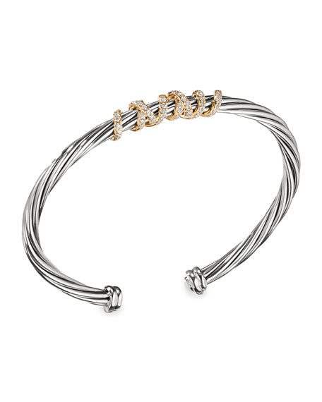 4mm Helena Cuff Bracelet with Diamond Wrap