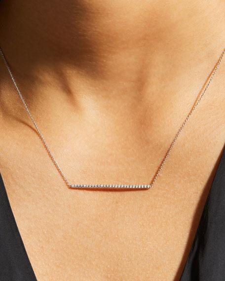 18k Gold Diamond Bar Necklace