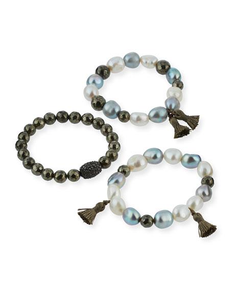 Alexandra Stacked Pearly Beaded Bracelet Set