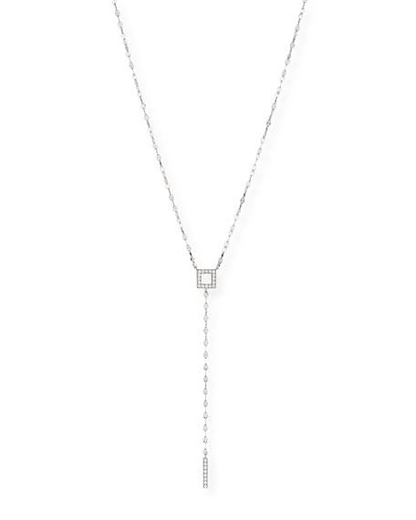 LANA Pavé Diamond Square Bar Lariat Necklace