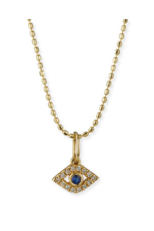 Sydney Evan 14k Gold Tiny Evil Eye Charm Necklace