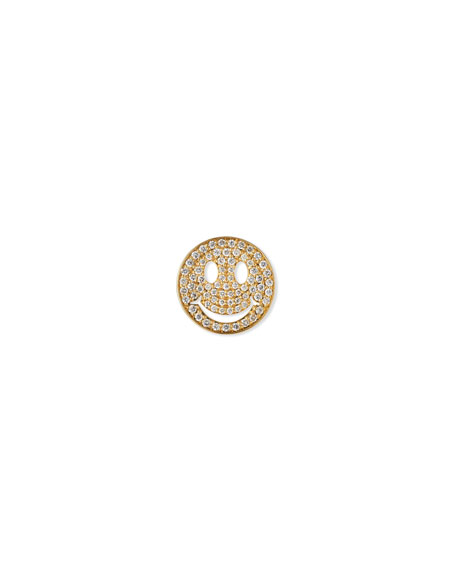 Large Pave Diamond Happy Face Stud Earring