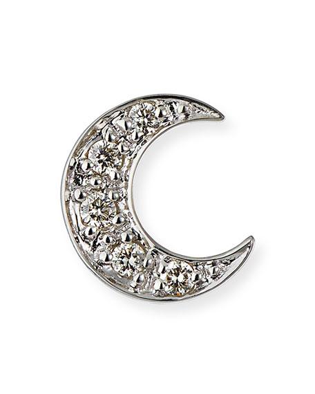 14K Pave Diamond Crescent Moon Single Stud Earring, White Gold