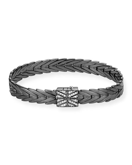 Modern Chain Silver 8mm Rectangular Bracelet with Diamond Clasp