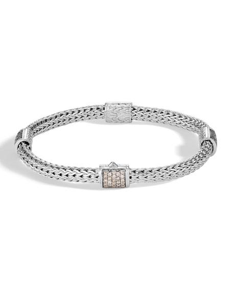 John Hardy Classic Chain Pave Diamond Four-Station Bracelet, Medium