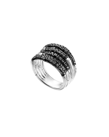John Hardy Bamboo Lava Wide Ring with Black Sapphires, Size 7