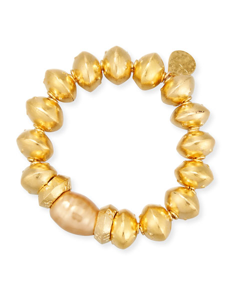 18K Gold-Plated Bracelet with Shell Pearl Station