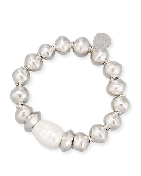Devon Leigh Rhodium-Plated Bracelet with Shell Pearl Station