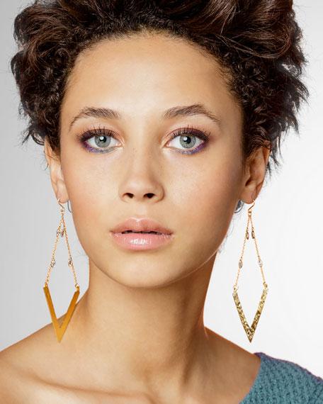 Golden Wedge Dangle Drop Earrings