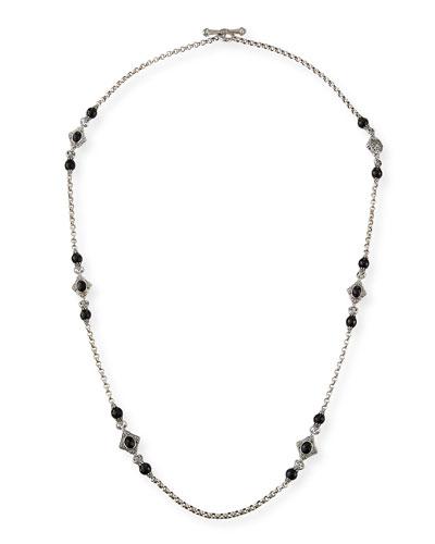 Carved Sterling Silver & Black Onyx Station Necklace  36L