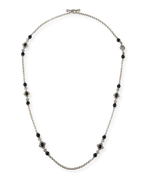 "Carved Sterling Silver & Black Onyx Station Necklace, 36""L"