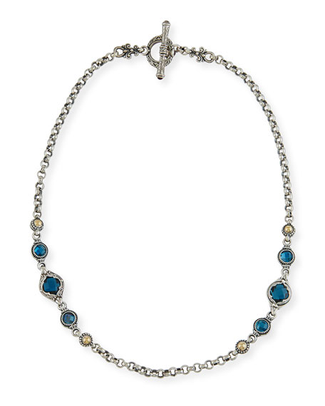 Akola Long Mixed Bead & Chain Station Necklace snRmREn