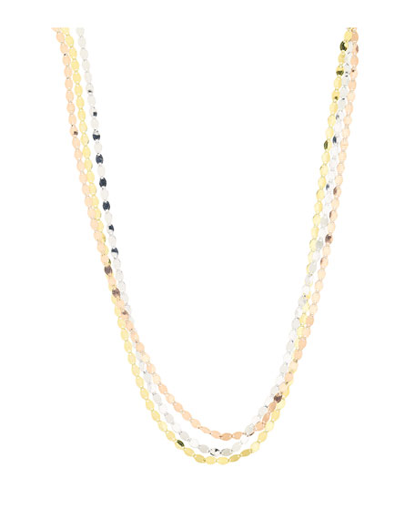 LANA Nude Tricolor Flat Link Necklace in 14K