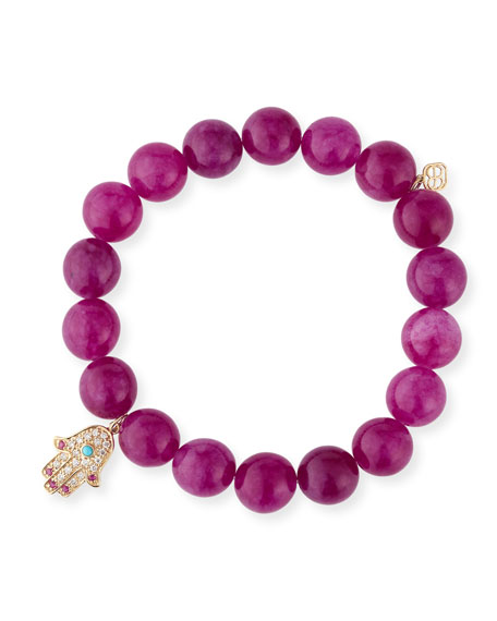 Sydney Evan 10mm Beaded Berry Jade Bracelet with