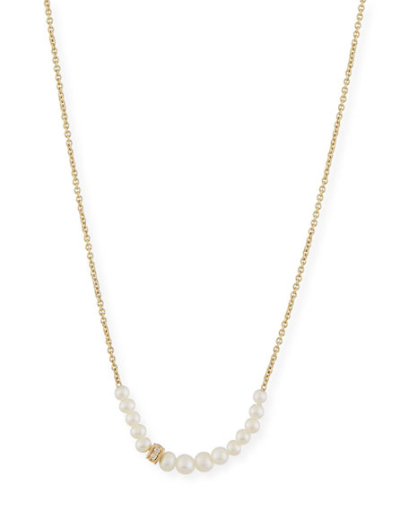 Sydney Evan Pearl Necklace with Diamond Rondelle