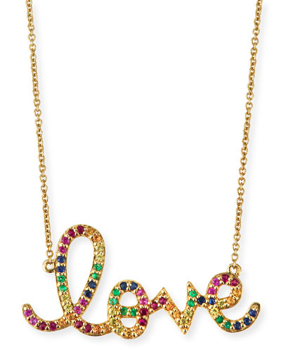 Large Rainbow Sapphire Love Necklace