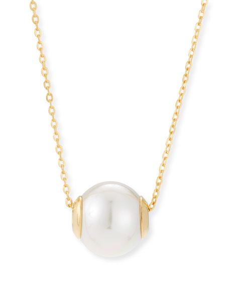 12mm Simulated Pearl Pendant Necklace, Gold/White