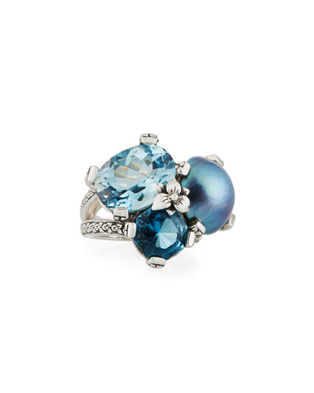 Stephen Dweck Blue Topaz & Mabe Pearl Three-Stone